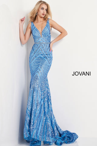 Jovani 03570 is a Long fitted formal evening gown. Featuring a fully Embellished geometric sequin pattern. Plunging deep V Neckline and open V back. This Backless Pageant Gown Features a mermaid silhouette with a lush trumpet skirt & Sweeping train. Sheer side panels with mesh insert. Crystal Rhinestone embellished waist belt. Available Sizes: 00,0,2,4,6,8,10,12,14,16,18,20,22,24  Available Colors: black/nude, light-blue, red, rose/gold, yellow