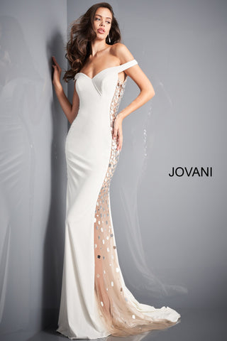 Jovani 03615 Long Fitted off the shoulder sheer Cut Glass Dress Formal Gown Jovani 03615 is a Stunning Fitted jersey off the shoulder Formal Evening gown. Featuring sheer mesh side panels on both side embellished with cut glass accents. sweetheart neckline with off the shoulder straps. Sweeping train in the back. Great for prom, Pageants, Red carpet events & a Sexy wedding Dress. Available Colors: black, fuchsia, light-blue, off-white, royal Glass Slipper Formals