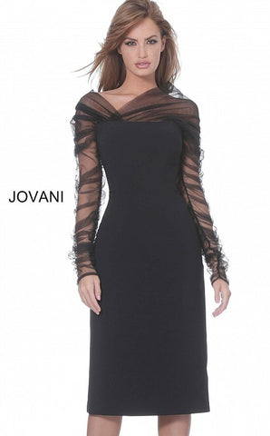 Jovani 03810 Black knee length cocktail dress with sheer neckline and long sleeves