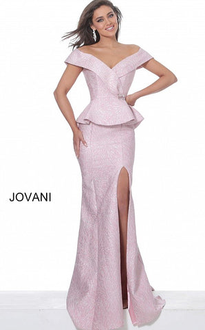 Jovani 03944 Off the shoulder high slit evening gown mother of the bride dress