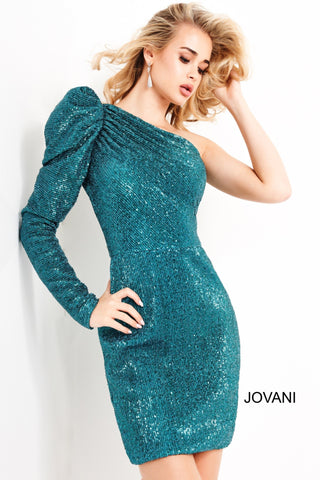 Jovani 03970 is a short fitted sequin formal evening cocktail dress. Ruching up to the one shoulder puff long sleeve. This classic formal homecoming dress will stun!  Available Sizes: 00,0,2,4,6,8,10,12,14,16,18,20,22,24  Available Colors: Silver, Teal Glass Slipper Formals