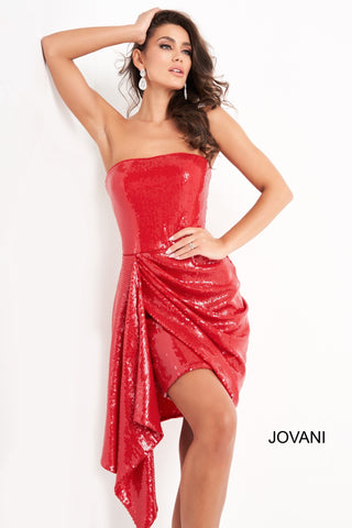 Jovani 04105 is a short strapless sequin formal cocktail dress. This is a great classy gown with a sequin draped skirt and fitted bodice. Red Carpet, Homecoming, Prom, Pageant & More This gown Is so Perfect for almost any look!  Available Sizes: 00,0,2,4,6,8,10,12,14,16,18,20,22,24  Available Colors: Black, Red