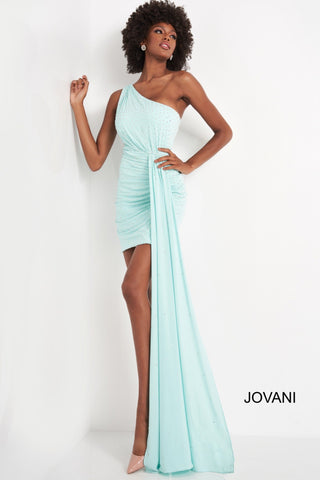 Jovani 04153 is a short fitted one shoulder cocktail dress. Embellished with scattered crystal rhinestones, Ruched shoulder & ruching leading up to the long draped sash along the hip. crystal accents disperse as they fall down the train. Great for any formal event! Available Sizes: 00,0,2,4,6,8,10,12,14,16,18,20,22,24  Available Colors: black, mint, red, white