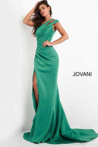 Jovani 04222 This long Jovani evening gown has a double one shoulder strap with a cutout.  This prom and pageant dress has full ruching down the front of the gown giving away to a side slit and long train.   Colors   Black, Green, Light Blue, Navy, Tomato, Wine  Sizes:  00-24