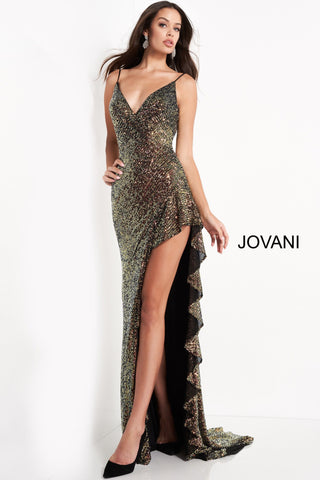 Jovani 04231 is a stunning sequin embellished formal evening gown. V Neckline with spaghetti straps, Open Mid Back. High Side Slit with a ruffle detail leading down to the sweeping train. Great Fun Fashion, evening gown, Prom Dress, & Pageant Gown.  Available Sizes: 00,0,2,4,6,8,10,12,14,16,18,20,22,24  Available Colors: Multi