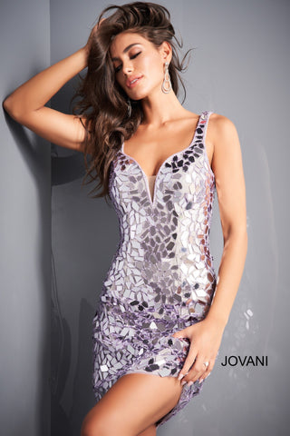 Jovani 04517 Short Fitted Cut Glass Formal Cocktail Dress V Neck Gown Prom Jovani 04517 is a stunning Cut Glass Embellished Formal Cocktail Evening Dress. Featuring a V neckline with mesh insert and open v back. Great for any formal event! Prom, Pageant, Homecoming, Red Carpet & More!