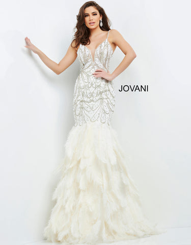 Jovani 04625 This is a long off white beaded Prom, Pageant and Evening Gown with Feather mermaid skirt.  It has a plunging v neckline and the beaded pattern resembles feathers. Color Off White  Sizes  00, 0, 2, 4, 6, 8, 10, 12, 14, 16, 18, 20, 22, 24