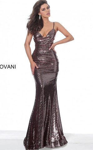 Jovani 04691 cowl neckline sequin prom dress evening gown