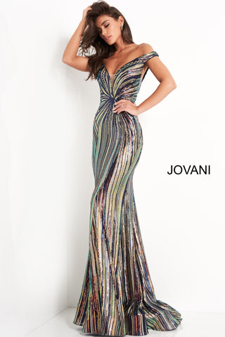 Jovani 04809 is a stunning long fitted fully sequin embellished formal evening gown. Off the shoulder neckline with asymmetrical rows of sequin accents cascading into the mermaid silhouette. Lush trumpet skirt with a sweeping train. Great Pageant Gown. Available Sizes: 00,0,2,4,6,8,10,12,14,16,18,20,22,24  Available Colors: Black/Multi