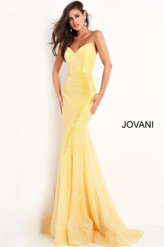 Jovani 04831 is a Gorgeous Fully Sequin Embellished Formal Evening Gown. Featuring a strapless peak point sweetheart neckline with a fitted mermaid silhouette. Lush trumpet skirt with sweeping train edged in horse hair trim. Stunning Pageant Gown. Available Sizes: 00,0,2,4,6,8,10,12,14,16,18,20,22,24  Available Colors: fuchsia, light-blue, yellow