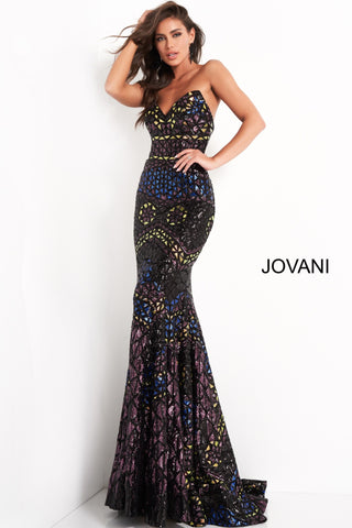 Jovani 04832 is a Gorgeous Geometric Sequin Embellished formal evening gown. Featuring a strapless peak point illusion sweetheart neckline. Stunningly Embellished Sequin Multi Mermaid Fit & Flare Pageant Gown. Trumpet Skirt with lush sweeping train.  Available Sizes: 00,0,2,4,6,8,10,12,14,16,18,20,22,24  Available Colors: Black/Multi