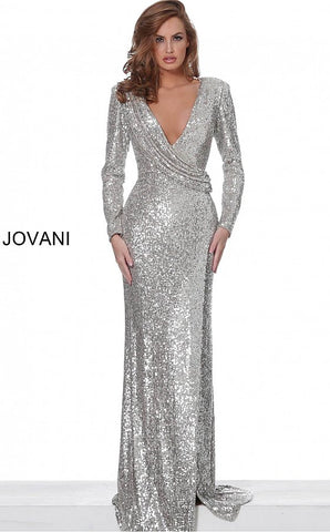 Jovani 04886 long sleeved sequin fitted evening gown