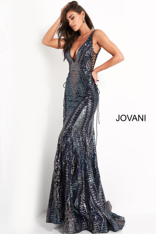 Jovani 05071 is a Gorgeous Sexy Formal Evening Gown. This Stunning Mermaid Prom Dress Features a Plunging deep V Neckline an open V Back. Side Cutouts with detailed corded corset style lace up closures. Geometric pattern accentuate any figure. Fully Embellished with petite sequins & Glitters accents in a multi color. Lush trumpet skirt with sweeping train. great for a pageant gown & stage!
