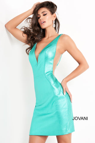 Jovani 05188 is a short Fitted metallic shimmer formal cocktail dress. Featuring a deep V Plunging neckline with sheer mesh side panels. This is a great homecoming or short prom dress!  Available Sizes: 00,0,2,4,6,8,10,12,14,16,18,20,22,24  Available Colors: Black, Green Glass Slipper Formals