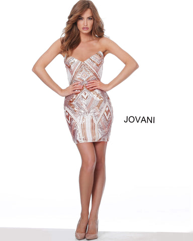 Jovani 05275 This nude multi short fitted homecoming dress adds mega charm with its geometric beadwork and sequins all over its fitted silhouette, with a V-point strapless neckline and mid-rise back. This formal cocktail dress is perfect for so many events! Prom, Homecoming, Pageant & More!  Available Sizes: 00,0,2,4,6,8,10,12,14,16,18,20,22,24  Available Colors: Nude/Multi