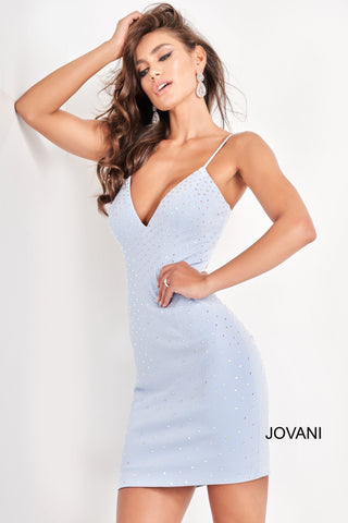Jovani 05513 is a short fitted Crystal Rhinestone embellished formal cocktail dress. V Neckline with embellished spaghetti straps. cut out back with a corset lace up tie closure. Ruched hip area accentuates curves. Great formal evening gown.  Available Sizes: 00,0,2,4,6,8,10,12,14,16,18,20,22,24  Available Colors: Light Blue, Black