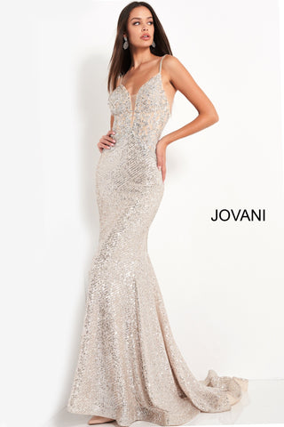 Jovani 05808 is a Long Fitted formal evening gown. Featuring a fully embellished & Beaded fitted bodice with a plunging deep v neckline and embellished spaghetti straps. Stretch petite sequin skirt with a lush trumpet skirt & sweeping train with horse hair trim. Great Prom & Pageant Gown. Available Sizes: 00,0,2,4,6,8,10,12,14,16,18,20,22,24  Available Colors: Silver/Champagne