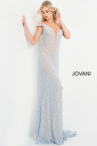 Jovani 06096 This is a long prom dress with off the shoulder straps.  The neckline on this evening gown in plunging with a sheer illusion panel.  This long pageant gown  has a side slit. Colors  Blue, Black  Sizes  00-24