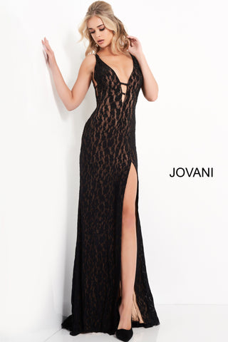 Jovani 06097 This is a plunging neckline with straps across the open bodice lace Prom Dress.   The formal evening gown is backless and has a high side slit. Colors;  Black, Blue  Sizes:  00, 0, 2, 4, 6, 8, 10, 12, 14, 16, 18, 20, 22, 24