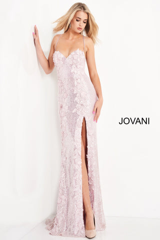 Jovani 06109 is a Long Fitted Sequin Embellished Formal Evening Gown. This Sweetheart neckline prom dress has spaghetti straps that lead around to an open back with a lace up corset tie closure. Detailed 3D Floral Appliques Embellished the fitted bodice & Cascade down the length of this gorgeous Pageant Gown. Thigh Slit in Skirt. Embellishments also adorn the back length of the Gown trailing into a Lush sequin sweeping train.