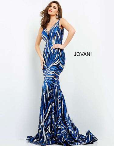 Jovani 06153 This is a long sequins print prom dress with a plunging v neckline with sheer illusion panel and spaghetti straps that lead to a v back.  The long semi mermaid skirt leads to a long train.  Prom, Pageant and Formal Evening Wear Gowns! Color Navy Silver  Sizes  00-24