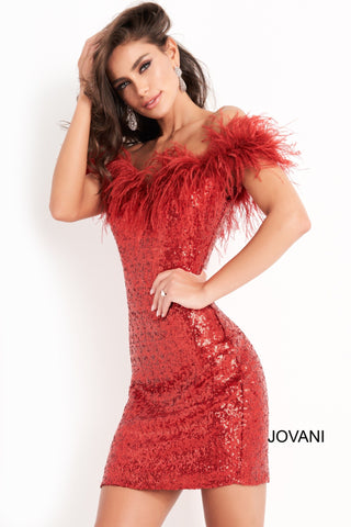 Jovani 06167 is a short fitted sequin cocktail evening dress. Featuring a straight neckline with off the shoulder feather embellished straps. Fitted Stretch Sequin bodice is perfect for any formal event or occasion! Sexy wedding reception dress in Ivory or Little black dress.  Available Sizes: 00,0,2,4,6,8,10,12,14,16,18,20,22,24  Available Colors: Black, Red, Ivory