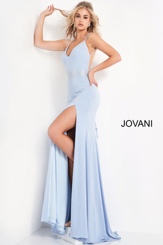 Jovani 06209 This is a long stretch jersey embellished evening gown with  a v neckline.  This prom dress is backless and has a high side slit. Colors:  Light Blue, Lilac, Navy, Red, White  Sizes;  00-24