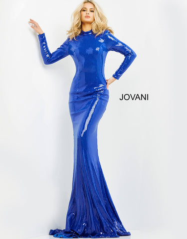 Jovani 06214 This is a long fitted sequin prom, pageant and formal evening pageant gown.  This evening dress has long sleeves and high neckline with a closed back.  The dress ends in a godet sweeping train. Colors  Black, Red, Royal  Sizes  00, 0, 2, 4, 6, 8, 10, 12, 14, 16, 18, 20, 22, 24