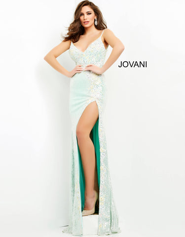 Jovani 06224 This is a long mint embellished prom dress with a v neckline.  The bodice on this evening gown is covered with 3 D floral appliques that are embellished  with stones. This is a fully beaded long pageant gown with a side slit and sweeping train.   Prom, Pageant and Formal Evening Wear Gowns! Color Mint  Sizes  00, 0, 2, 4, 6, 8, 10, 12, 14, 16, 18, 20, 22, 24