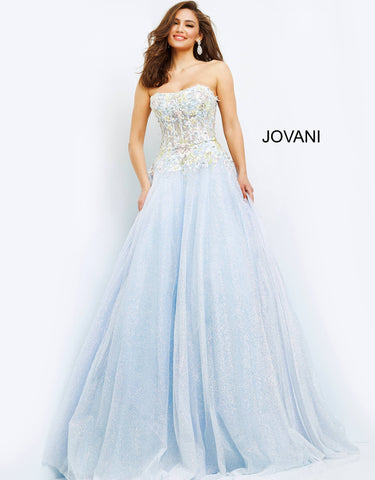 Jovani 06231 This is a long strapless prom dress with embellished bodice and a lace up corset in the back with a courtesy panel.  This evening pageant gown has a long glitter tulle ballgown skirt. Color Light Blue  Sizes  00, 0, 2, 4, 6, 8, 10, 12, 14, 16, 18, 20, 22, 24