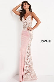 JOVANI 06232 Long Fitted Sequin Sheer Corset Floral Prom Dress Sexy Pageant Gown