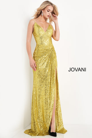 Jovani 06271 is a yellow fully embellished sequin formal evening gown. Featuring a v neckline and spaghetti straps. Ruched waistline leading into a thigh slit. Open V Back. Great Formal dress for Prom & Pageants! Available Sizes: 00,0,2,4,6,8,10,12,14,16,18,20,22,24  Available Colors: Yellow