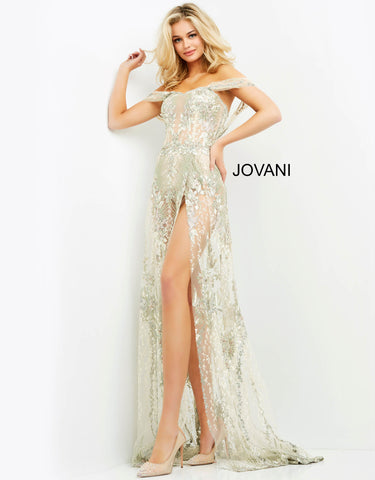 Jovani 06273 This is a sheer sequin embellished prom dress with a bodysuit underneath.  It has sheer off the shoulder straps and corset style bodice.  This evening gown has a sheer embellished overskirt with a high wrap style slit. Color Multi  Sizes  00-24