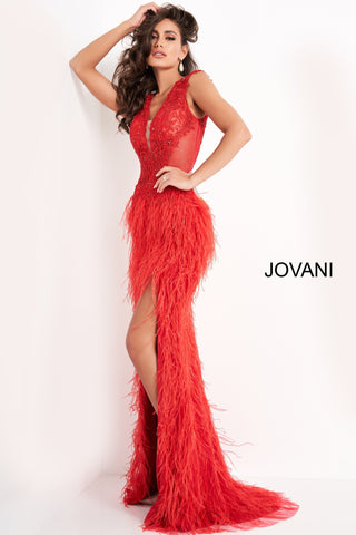 Jovani 06446 Backless Sheath Prom Dress Feather Prom Dress Evening Gown