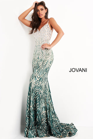 Jovani 06450 is a Gorgeous Long Fitted mermaid Formal evening gown. This Prom Dress Features an open Back with spaghetti straps. Ombre Sequin Color Shift on this Mermaid Pageant Dress. Lush Trumpet skirt with a sweeping train. Fully Embellished sequin Geometric pattern to accentuate any figure! Available Sizes: 00,0,2,4,6,8,10,12,14,16,18,20,22,24 Available Colors: silver/cafe, silver/green
