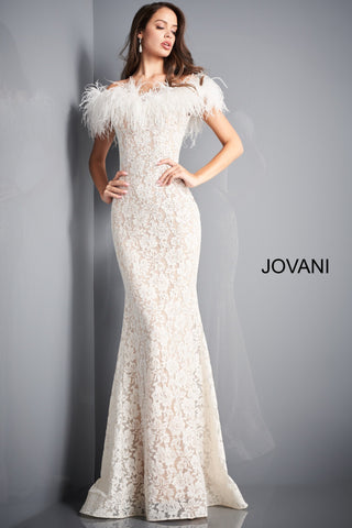 Jovani 06451 is a stunning long fitted lace formal evening gown. Lush Feather accented off the shoulder sleeves. Fit & Flare silhouette with a lush sweeping train with horse hair trim. Fully embellished with scattered crystal rhinestones. sweeping train. Wedding reception dress. prom dress. pageant gown. Available Sizes: 00,0,2,4,6,8,10,12,14,16,18,20,22,24  Available Colors: BLACK, EMERALD, IVORY, LIGHT-BLUE, NAVY, RED