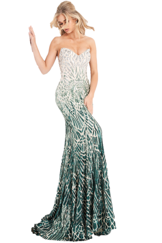 Jovani 06459 is a long fitted Formal Evening Gown. This Strapless Prom Dress Features a Backless open back with a corset style lace up closure. Peak point strapless neckline. Fully Embellished with Sequins in a cascading geometric pattern in an Ombre Design. Lush trumpet skirt with a sweeping train. Perfect for pageants! Available Sizes: 00,0,2,4,6,8,10,12,14,16,18,20,22,24  Available Colors: Silver/Cafe, Silver/Green