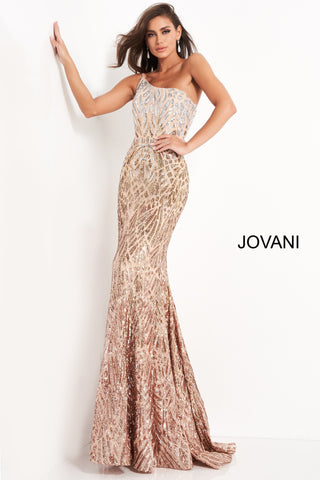 Jovani 06469 is a long fitted formal evening gown. Fully Embellished Sequin Ombre Color shifting geometric patterns. One shoulder Neckline. Mermaid silhouette with a lush trumpet skirt & Sweeping train. Stunning Prom & Pageant Gown. Available Sizes: 00,0,2,4,6,8,10,12,14,16,18,20,22,24  Available Colors: Silver/Cafe, Silver/Green