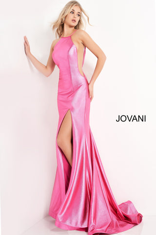Jovani 06525 is a long fitted metallic shimmer Formal evening gown. This prom dress features a high neckline with spaghetti straps. Sheer side panels with mesh inserts and an open V Back. Mermaid silhouette with a trumpet skirt and seeping train. Great pageant gown. Available Sizes: 00,0,2,4,6,8,10,12,14,16,18,20,22,24  Available Colors: Hot Pink, Red, Champagne, Green