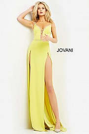Jovani 06557 double slit long prom dress sexy backless corset evening gown