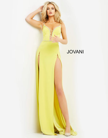 Jovani 06557 A double slit long prom dress with a plunging neckline with embellished trim.  This sexy backless corset evening gown has an embellished waistline and a sweeping train. Prom, Pageant and Formal Evening Wear Gowns! Colors  Black, Red, Yellow  Sizes  00-24
