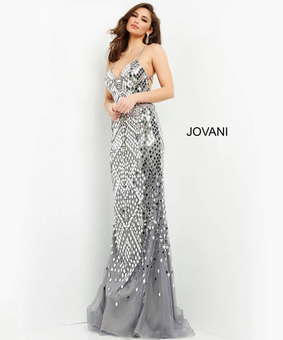 Jovani 06676  Floor length form fitting gunmetal cut glass embellished prom dress features sleeveless bodice with tie back and V neck. Color  Gunmetal  Sizes 00, 0, 2, 4, 6, 8, 10, 12, 14, 16, 18, 20, 22, 24