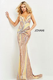 Jovani 06757 Multi colored backless fitted prom dress evening gown pageant dress