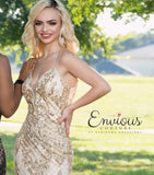 Envious Couture E1620 plunging v neckline with sheer panel glittered tulle fitted prom dress pageant gown or formal event dress Colors Black/Rose, Gold/Gold  Sizes 00, 0, 2, 4, 6, 8, 10, 12, 14, 16, 18, 20