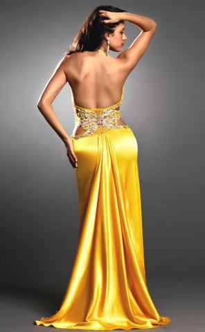 Nina Canacci Yellow Size 10 Illusion Bodice Satin Prom Dress evening gown sexy