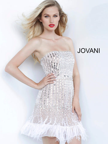 Jovani 67278 straight neckline beaded feather skirt cocktail dress