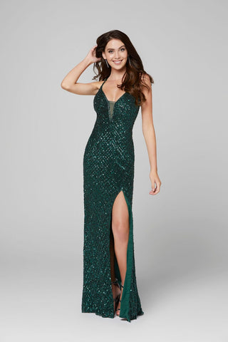 Primavera Couture 3418 plunging neckline sequin beaded prom dress