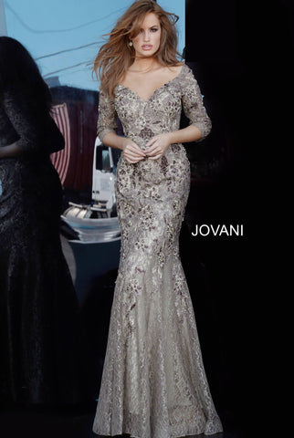 Jovani 02766 off the shoulder three quarter sleeves mermaid evening gown Taupe mother of the bride or groom dress floral embroidered evening dress with an off-the-shoulder bodice featuring three-quarter sleeves, a sweetheart neckline and closed back. Floor-length fitted skirt with a flared mermaid style end. Available colors:  Taupe  Available sizes:  00-24