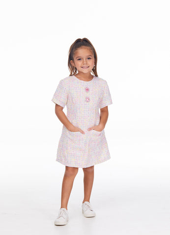 Ashley Lauren 8045 Girls Tweed short dress with pockets fun fashion pageant or tea party dress Colors  Ivory  Sizes  4, 6, 8, 10, 12, 14
