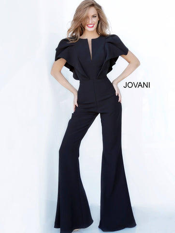 Jovani 00762 ruffle sleeve top with v neckline bell bottoms jumpsuit ruffle top bell bottoms jumpsuit Pageant Skinny V Neck Suit Couture  Available colors:  Black, Fuchsia, Ivory, Navy, Red, Tangerine, Turquoise  Available sizes:  00-24